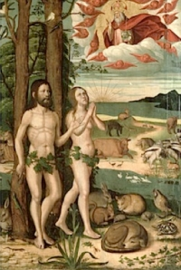 God granting dominion over Nature to Adam and Eve in the Garden of Eden