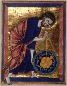 "13th. Century picture showing God as ""architect of the universe"".  Vienna, Österreichische Nationalbibliothek."